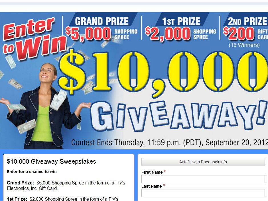 Frys Electronics/Facebook $10000 Giveaway Sweepstakes (2012)