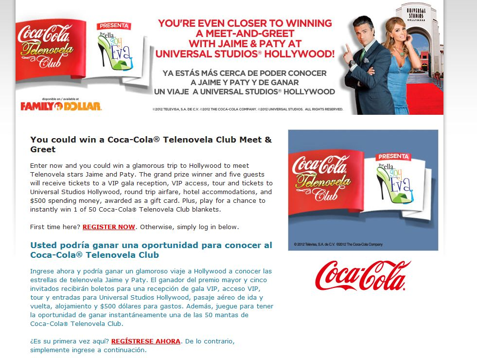 Coca-Cola/Family Dollar Hispanic Heritage Instant Win and Sweepstakes