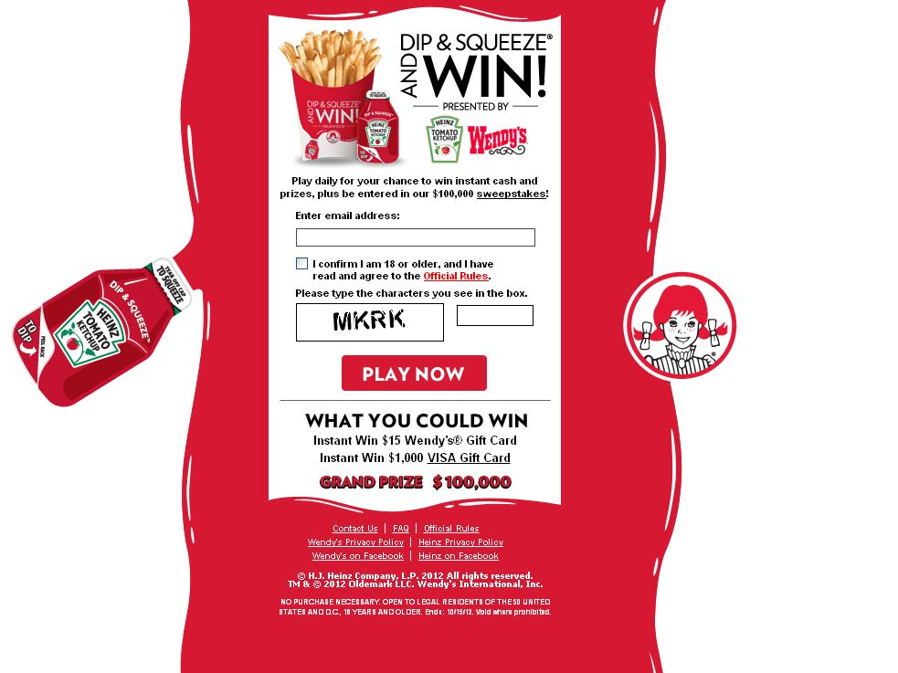Heinz & Wendys Dip & Squeeze and Win Sweepstakes!