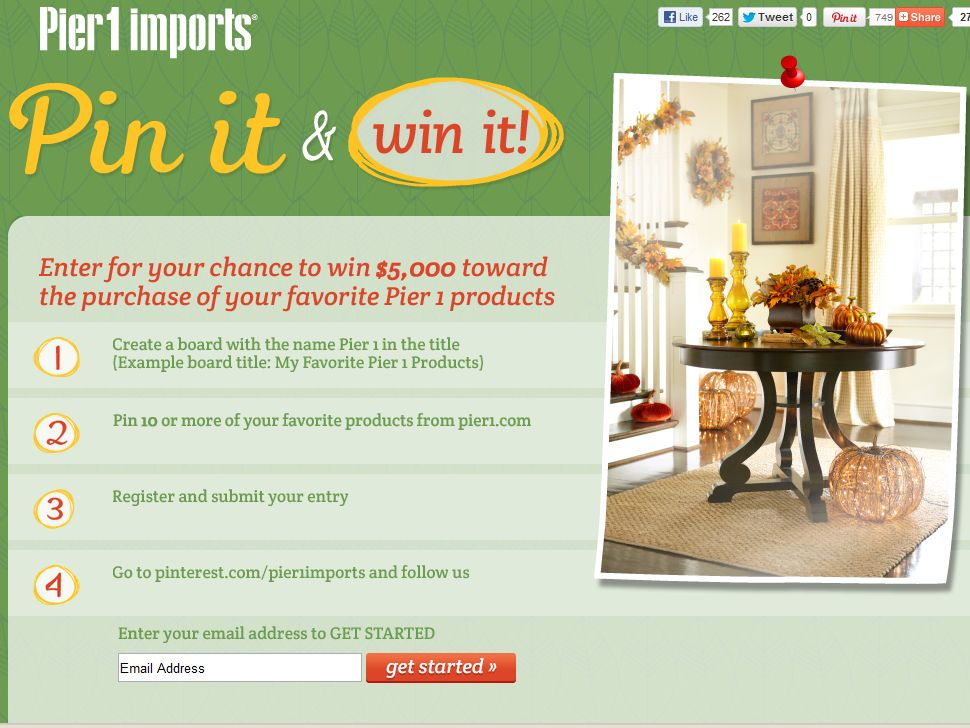 Pier 1 Imports Pin It & Win It Sweepstakes