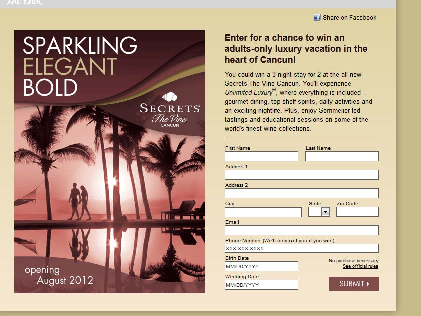The AMResorts Secrets The Vine Cancun Sweepstakes