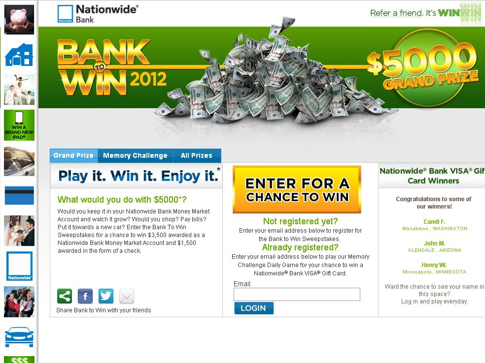 Nationwide Bank to Win Sweepstakes!