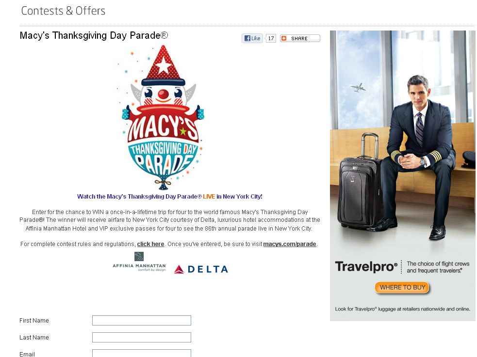 Delta Sky - Macy's Thanksgiving Day Parade Sweepstakes!