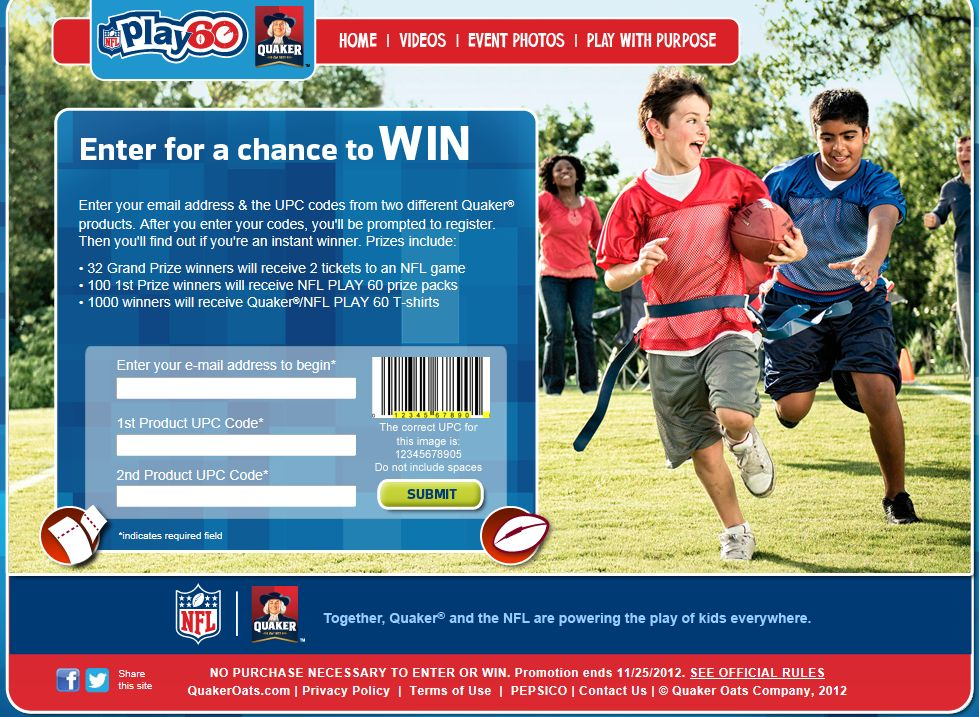 Quaker Help Power Their Play Instant Win Game