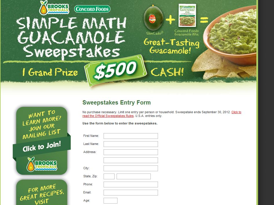 Concord Foods/Brooks Tropicals Simple Math Guacamole Sweepstakes