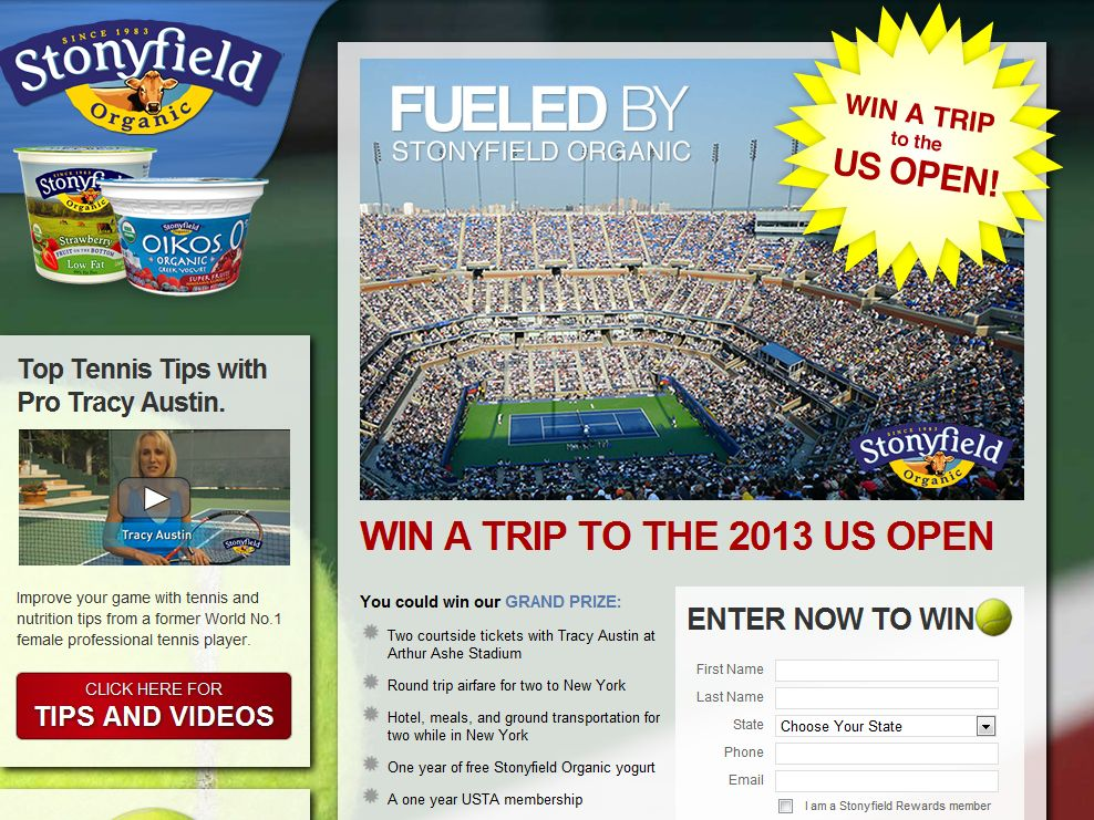 The Stonyfield/ US Open Getaway Sweepstakes