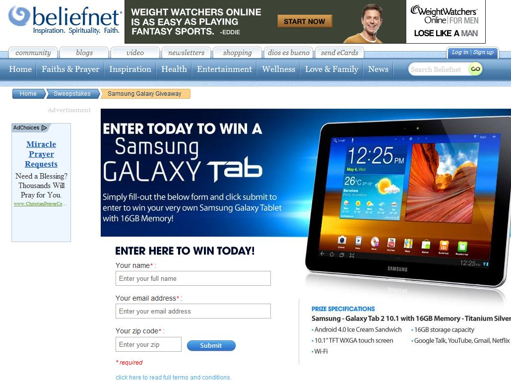 The Samsung Galaxy Tab Giveaway Sweepstakes