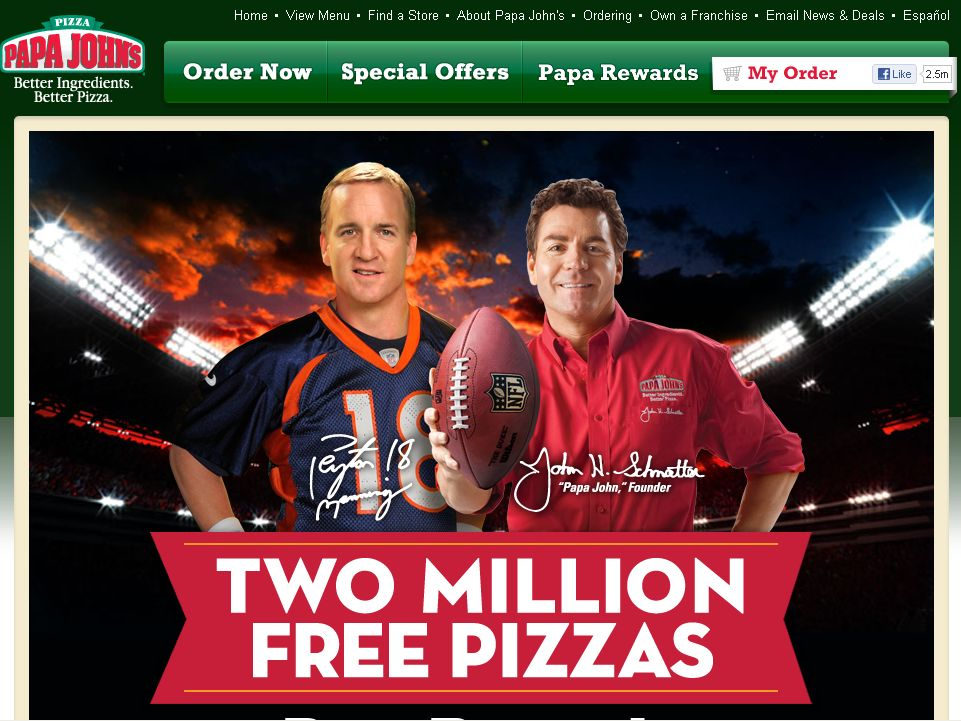 Papa John's Two Million Pizza Giveaway Sweepstakes!