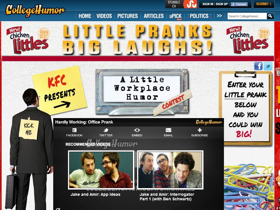 The KFC CollegeHumor A Little Workplace Humor Contest!