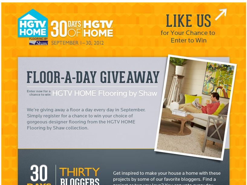 The 30 Days Of HGTV® HOME Floor-A-Day Giveaway Sweepstakes!