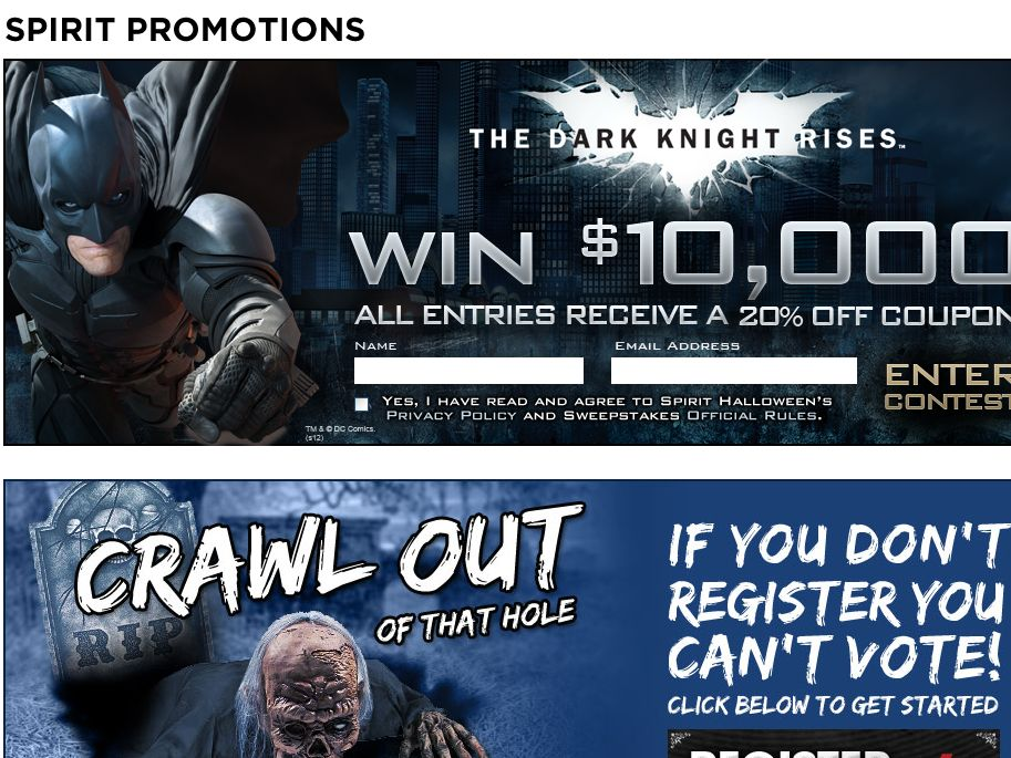 The Spirit Halloween Rise from the Darkness w/$10,000 – The Dark Knight Rises Sweepstakes!