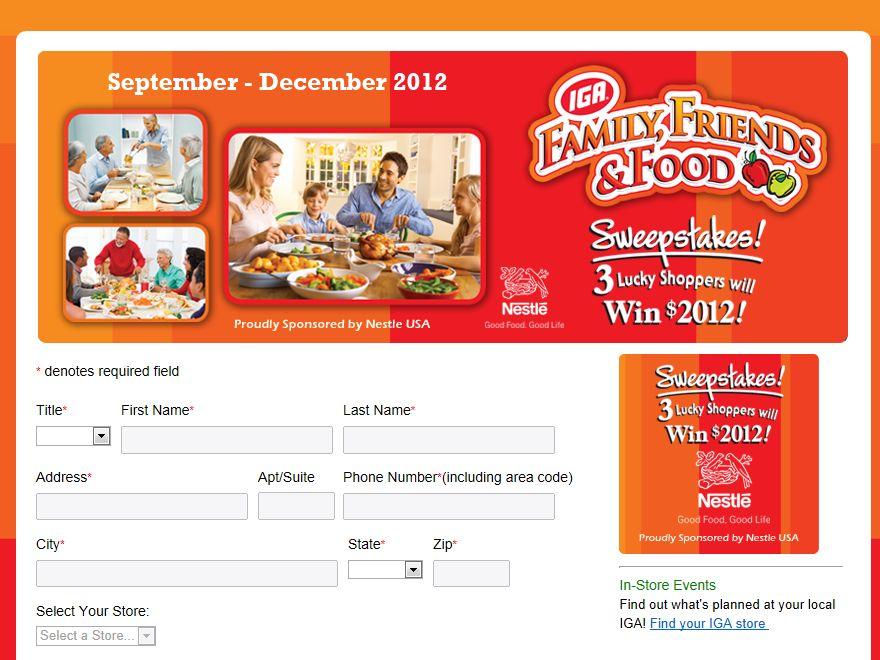 2012 IGA Family Friends & Food Sweepstakes