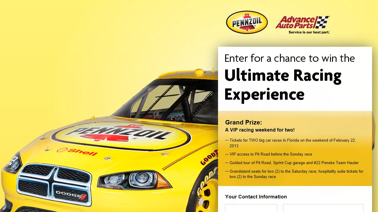 2013 VIP Race Weekend Experience Sweepstakes