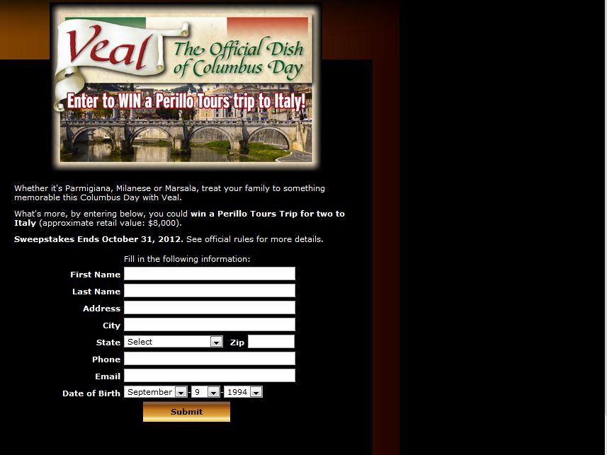 Veal Made Easy Trip to Italy Sweepstakes
