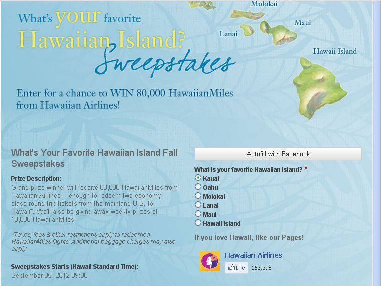 The What's Your Favorite Hawaiian Island Sweepstakes!