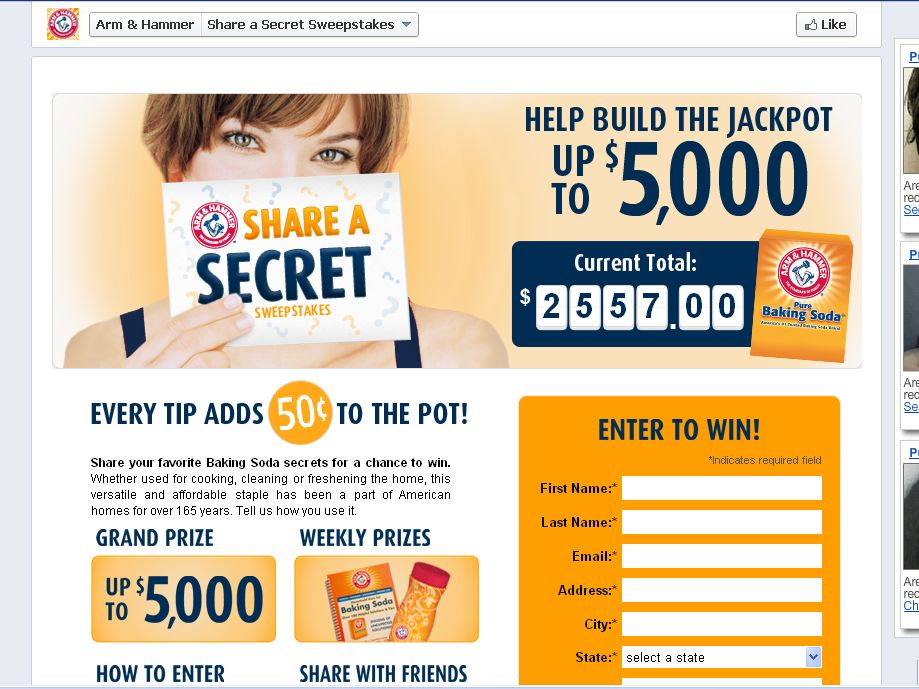 The 2012 ARM & HAMMER Baking Soda Share a Secret Sweepstakes!