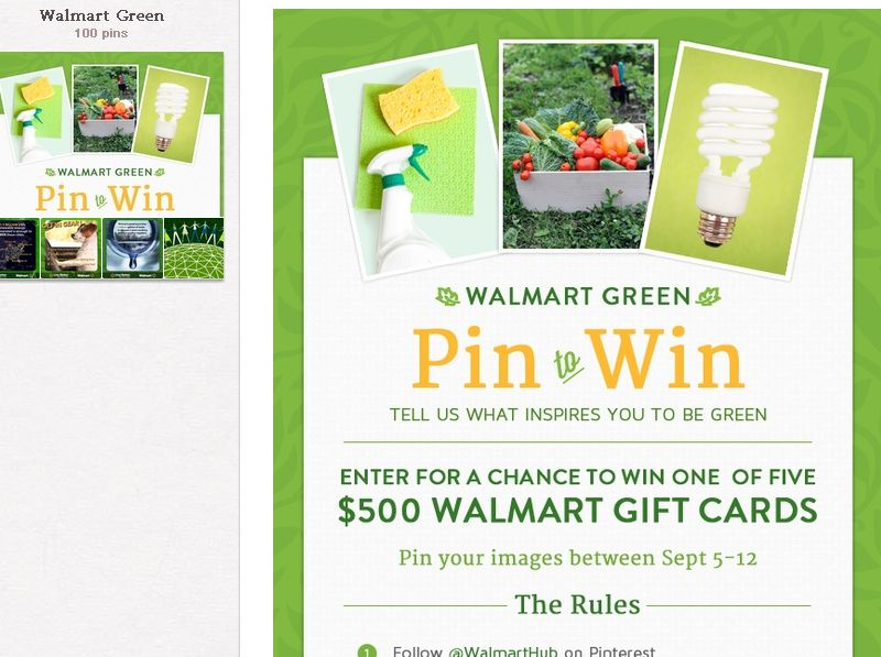 The Walmart Green Pin to Win Contest!