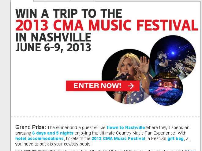 The Win a Trip to the 2013 CMA Music Festival Sweepstakes!