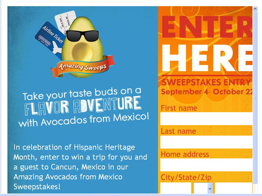 Avocados from Mexico Sweepstakes!