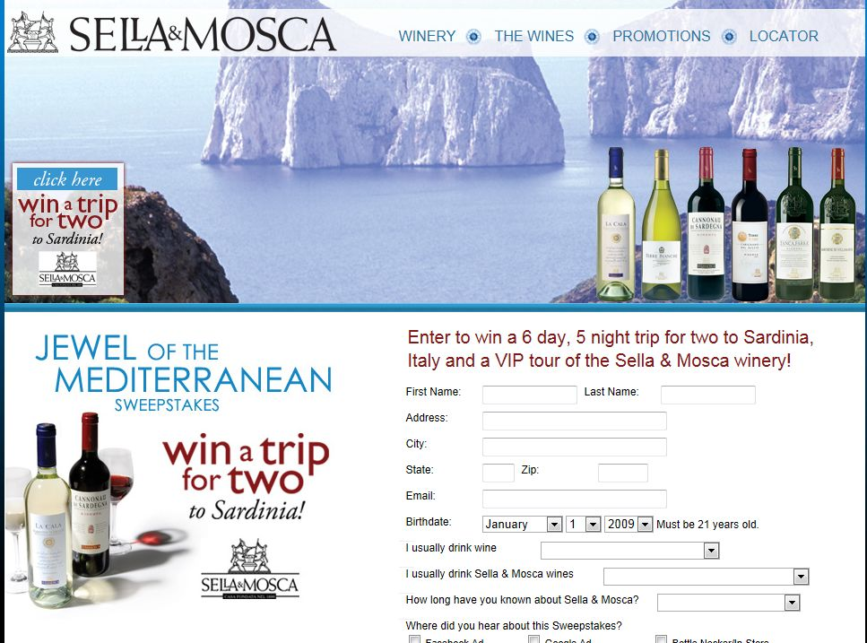 Sella & Mosca Jewel of the Mediterranean Sweepstakes
