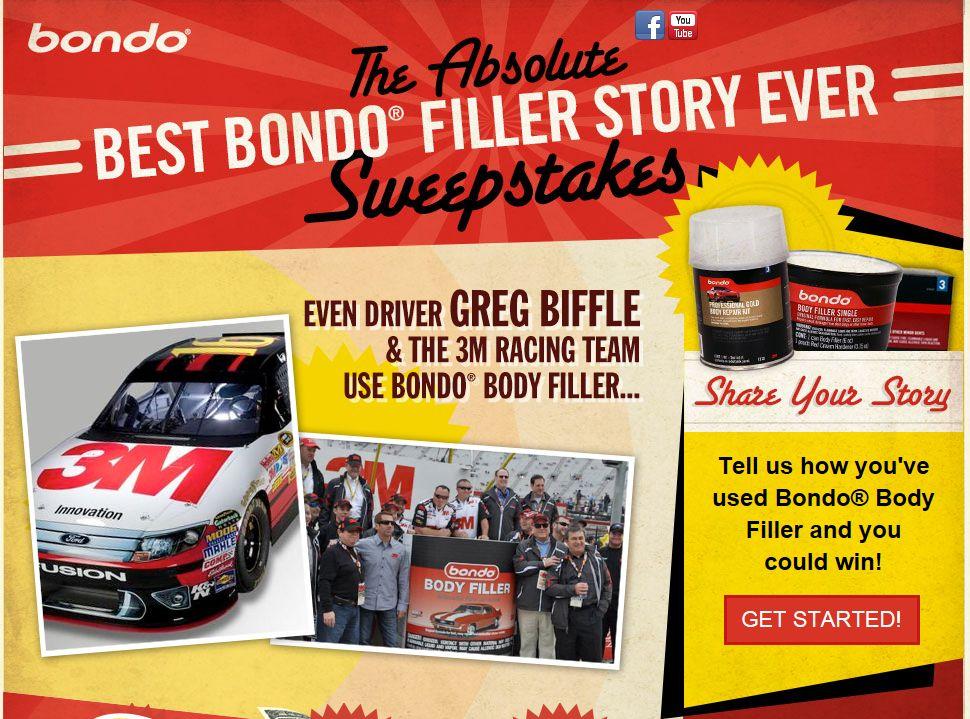 Bond with Bondo Body Filler Sweepstakes