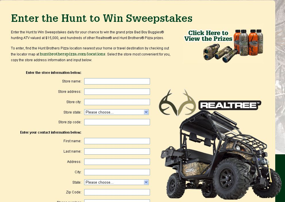 The Hunt To Win Sweepstakes!