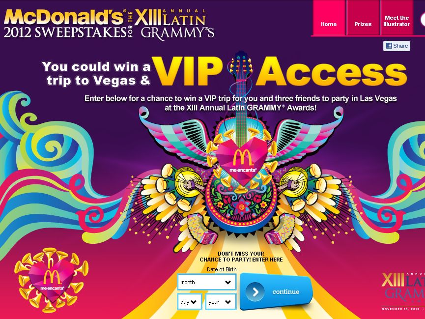 McDonald's 2012 Sweepstakes for the XIII Annual Latin GRAMMYs!