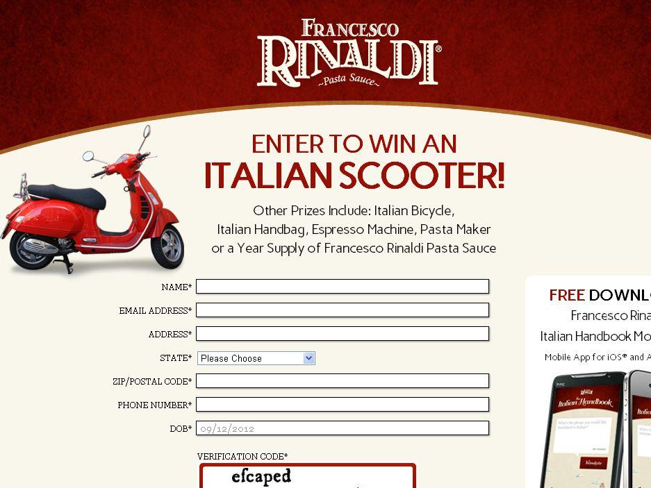 The Francesco Rinaldi Viva Italia Sweepstakes!