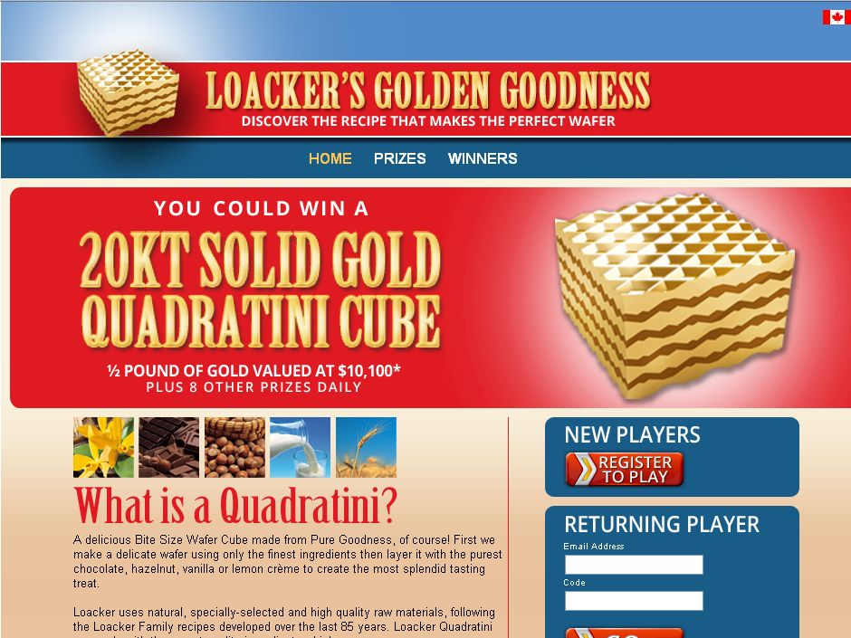 Win Loacker's Golden Goodness Instant Win Game Promotion! (code)