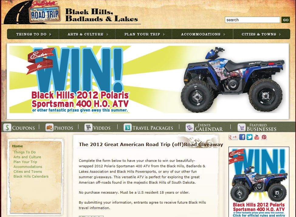 2012 Great American Road Trip Off Road Giveaway