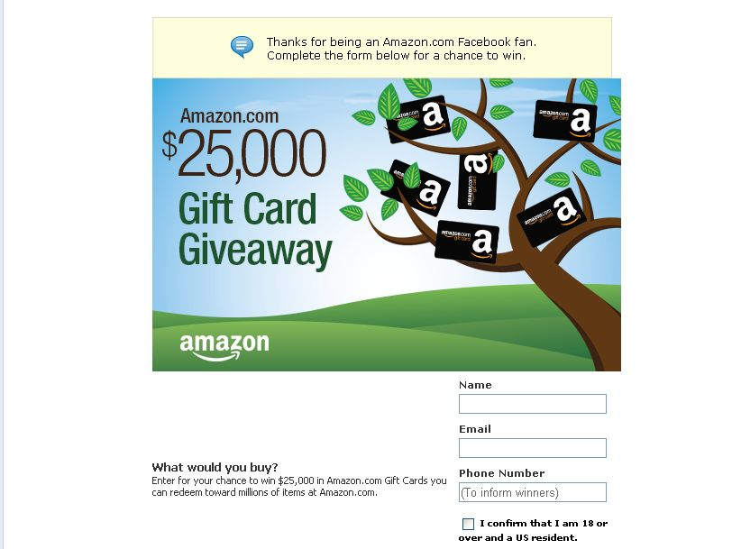 Amazon.com $25,000 Gift Card Giveaway!
