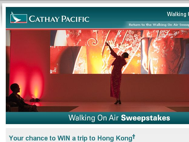 Cathay Pacific's Walking on Air Sweepstakes!