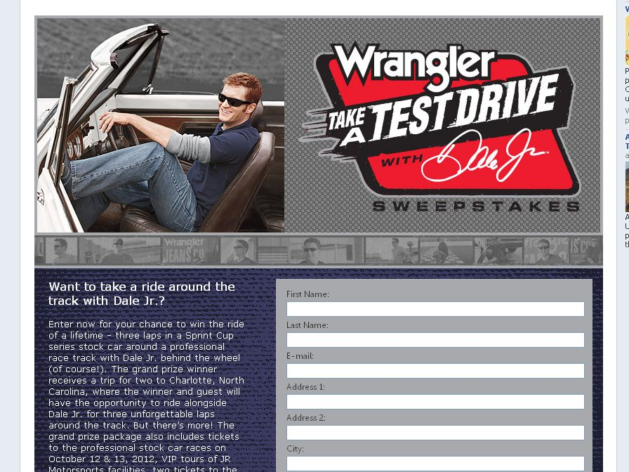 The 2012 Wrangler Take a Test Drive with Dale Jr. Sweepstakes!