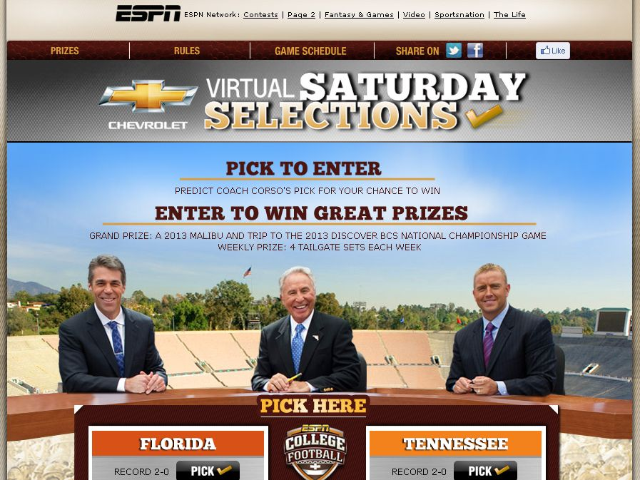 The the ESPN Virtual Saturday Selections Sweepstakes!