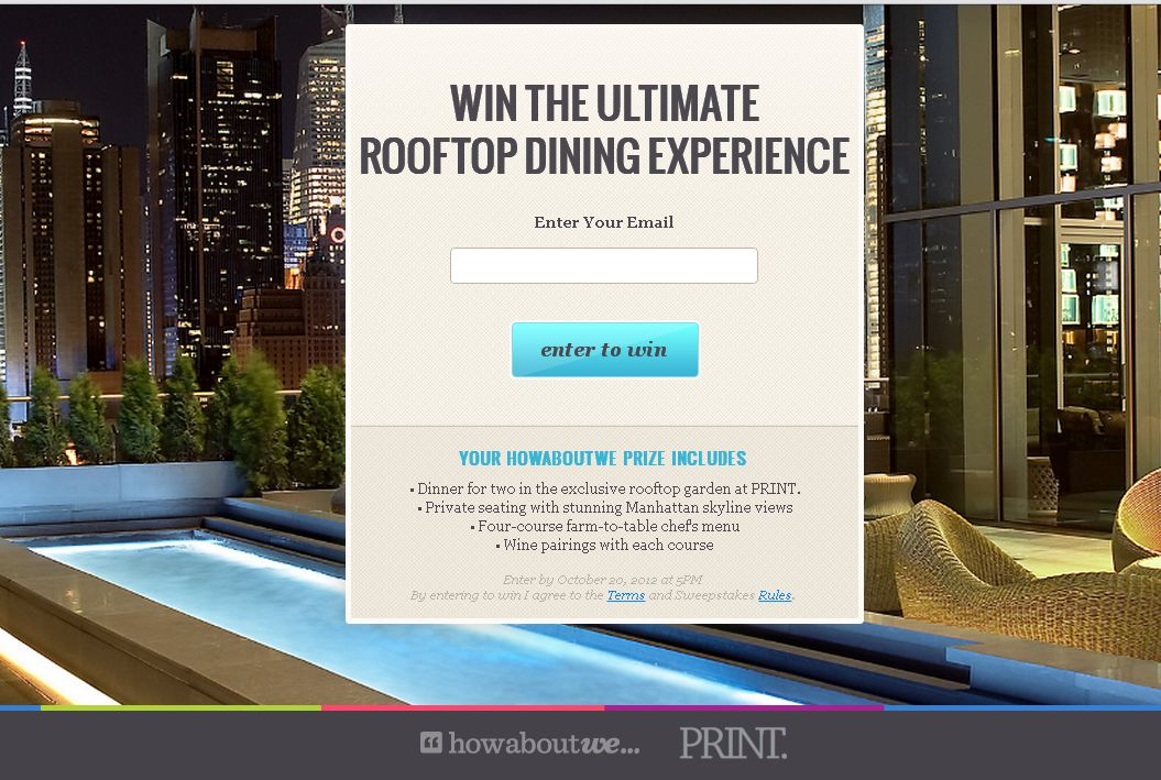 The Ultimate Rooftop Dining Experience Sweepstakes!