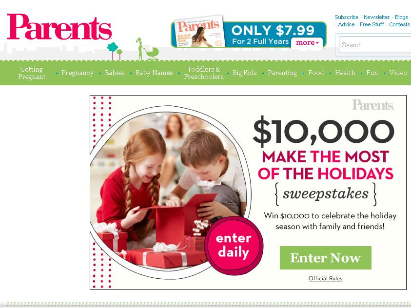 The $10,000 Holiday Sweepstakes!