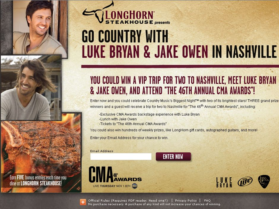 The Go Country with Luke Bryan and Jake Owen in Nashville Sweepstakes!