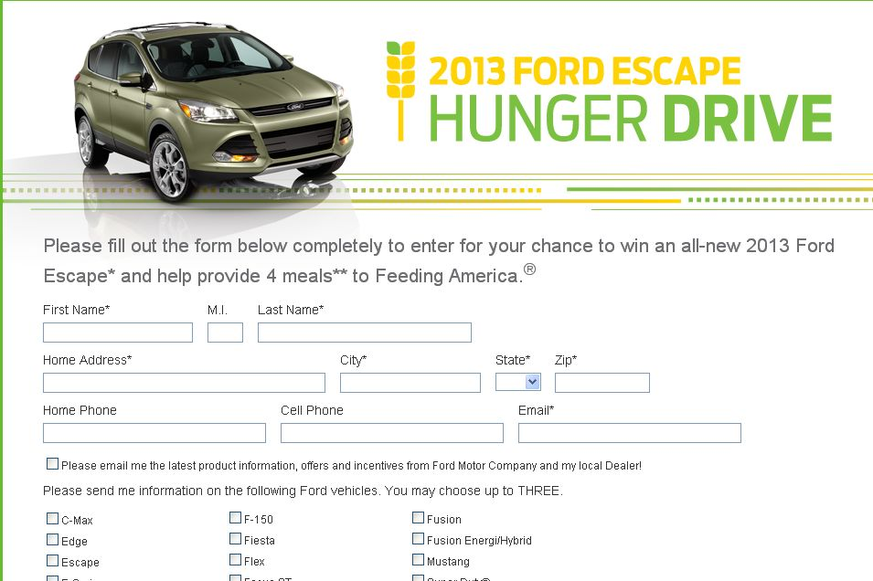 The 2013 Ford Escape Hunger Drive – Western Region Sweepstakes!