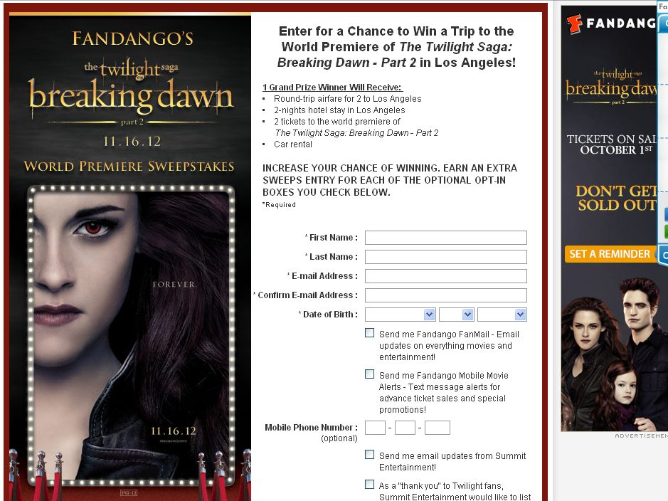 The Twilight Saga: Breaking Dawn – Part 2 Sweepstakes!