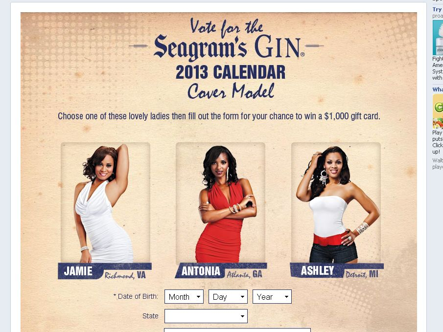 The 2013 Seagram's Gin Cover Model Vote Sweepstakes!