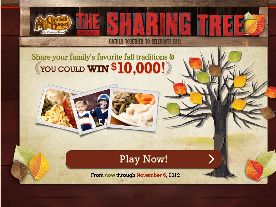 The Cracker Barrel Old Country Store The Sharing Tree sweepstakes!
