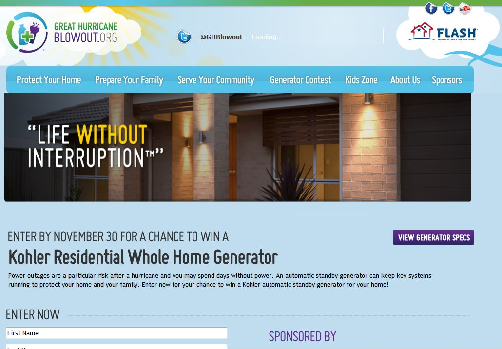 2012 Great Hurricane Blowout Generator Sweepstakes