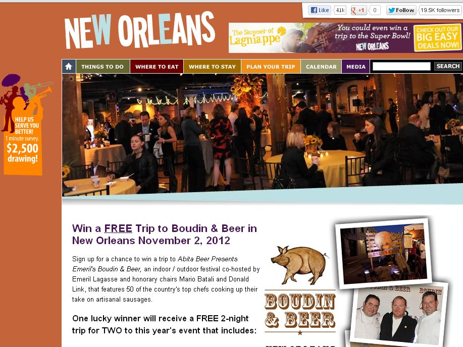 The New Orleans Online 2012 BOUDIN & BEER Sweepstakes!