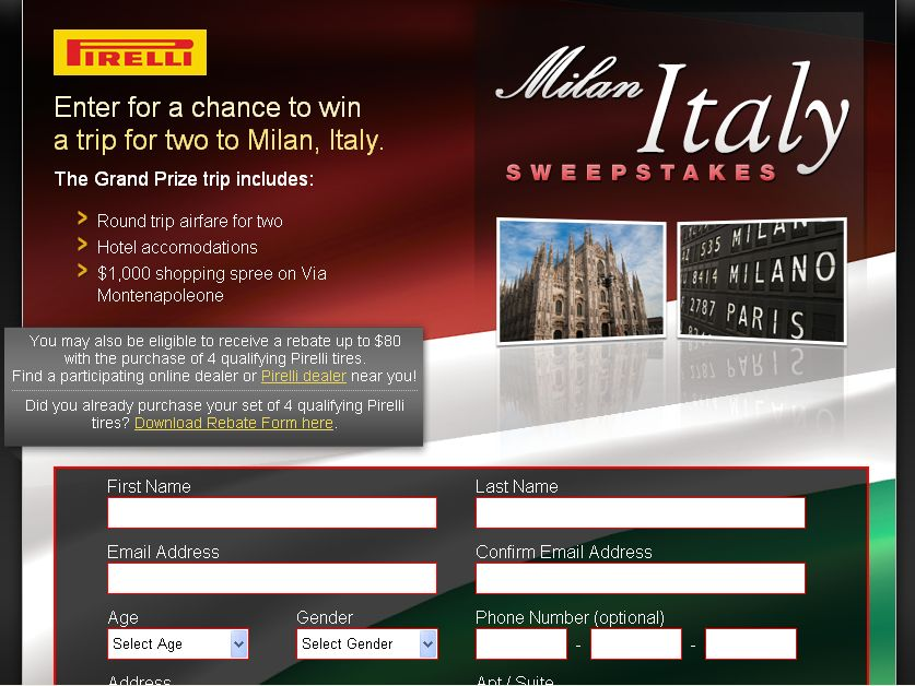 The Pirelli Trip to Milan Sweepstakes!