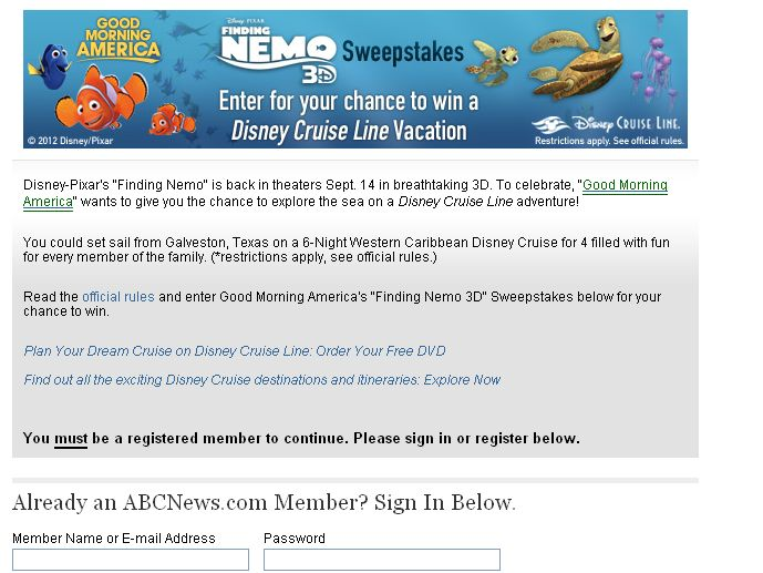 Good Morning America's Finding Nemo 3D Sweepstakes!