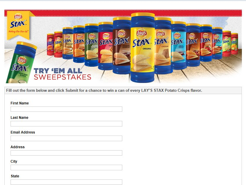 Lay's STAX Try 'Em All Sweepstakes