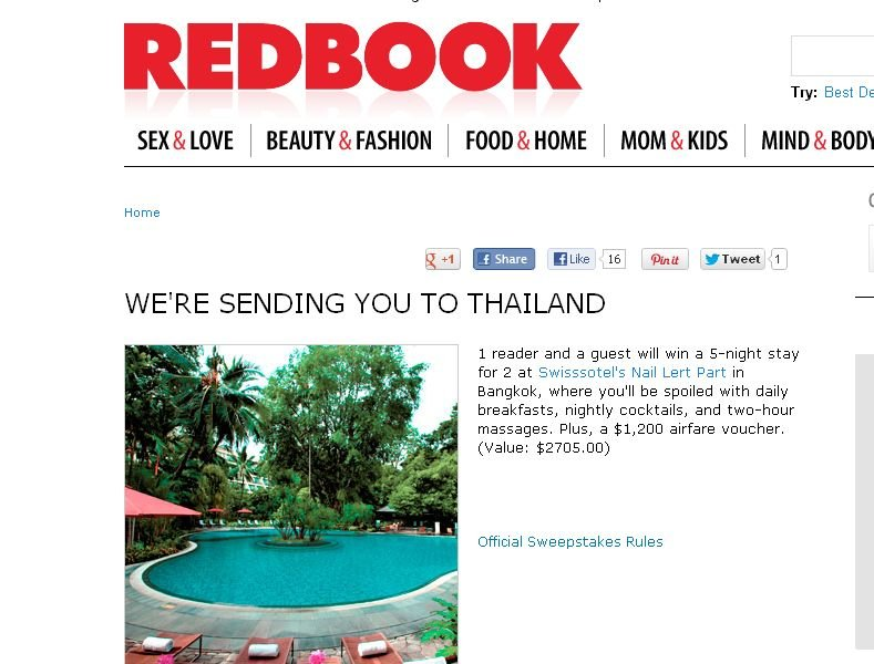 REDBOOK We're Sending You to Thailand! Sweepstakes!
