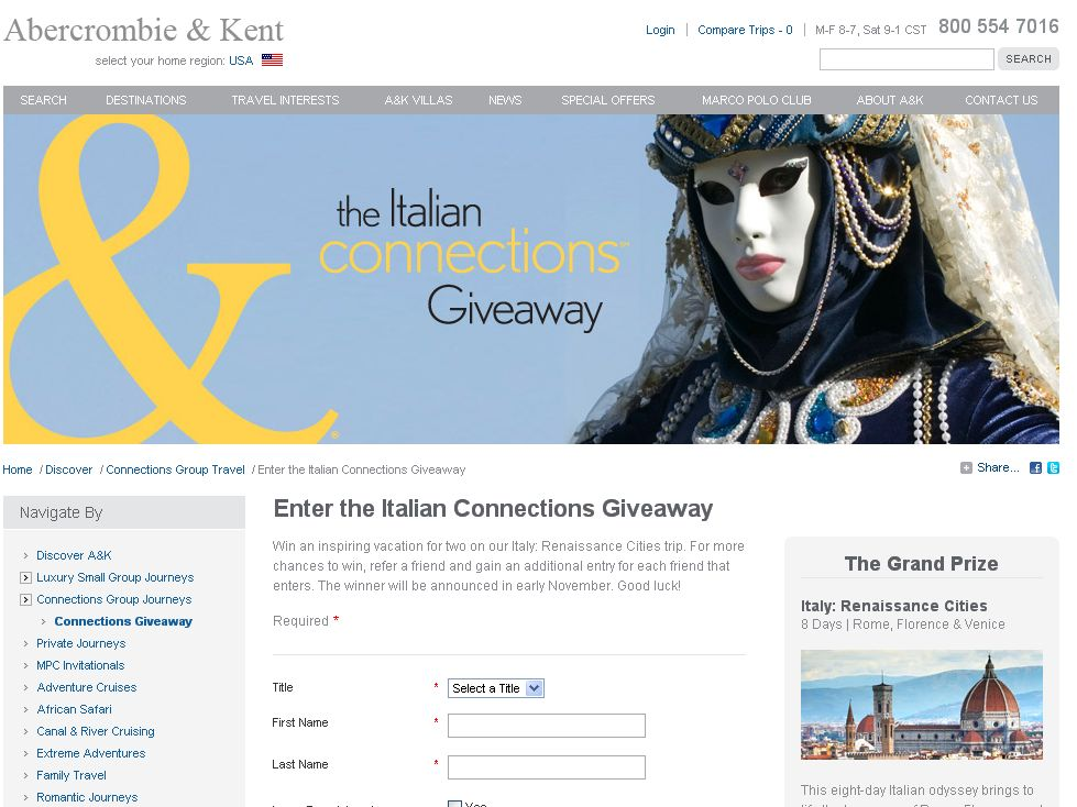 The Italian Connections Giveaway Sweepstakes!