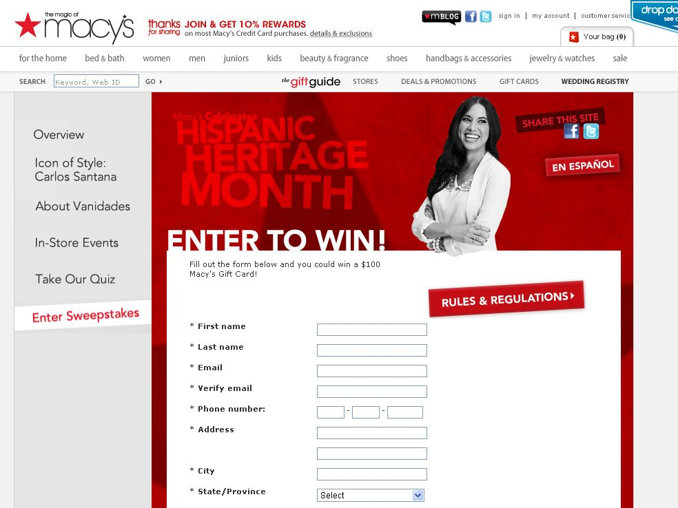 The Macy's Hispanic Heritage Month Trivia Sweepstakes!