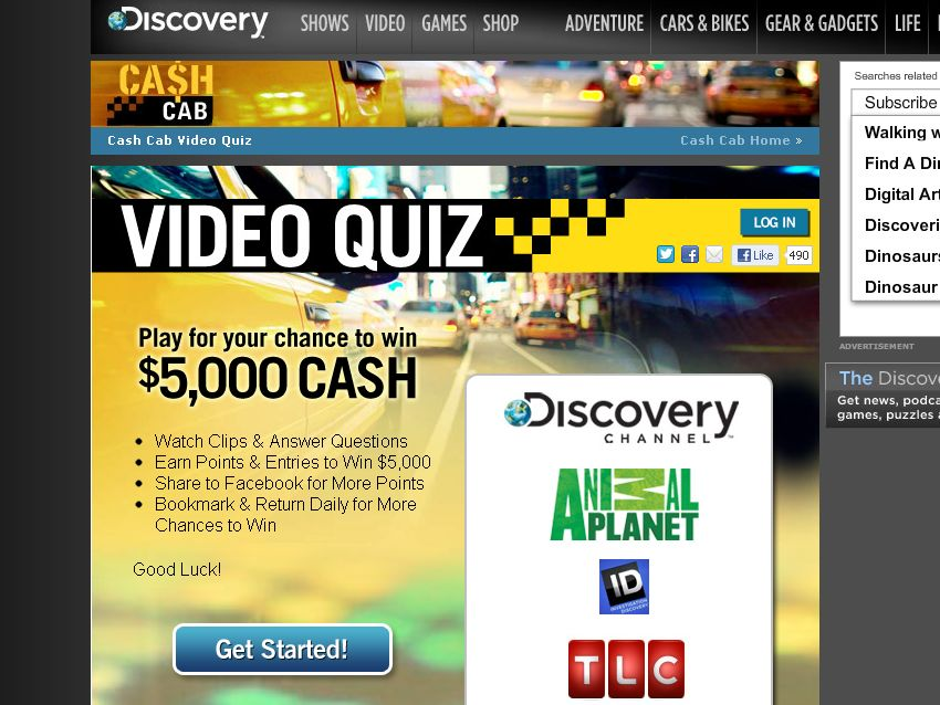 The Discovery Cash Cab Fan Appreciation Sweepstakes!